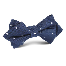 Navy Blue with White Polkadots Textured Diamond Bow Tie