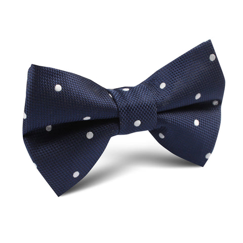 Navy Blue with White Polkadots Textured Kids Bow Tie