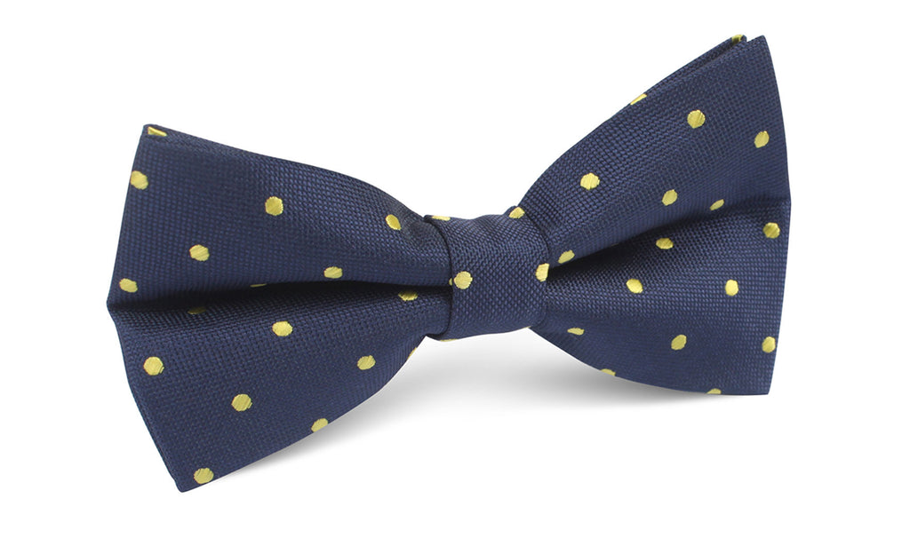 3805d8cb89c4 Navy Blue with Yellow Polka Dots Bow Tie | Men Bowtie Bowties Mens ...