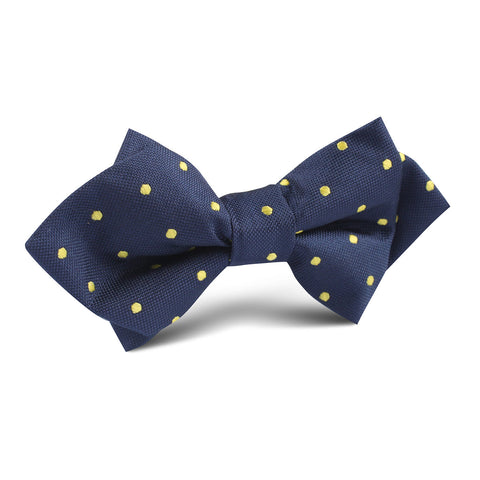 Navy Blue with Yellow Polka Dots Diamond Bow Tie