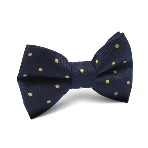 Navy Blue with Yellow Polka Dots Kids Bow Tie