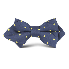 Navy Blue with Yellow Polka Dots Kids Diamond Bow Tie