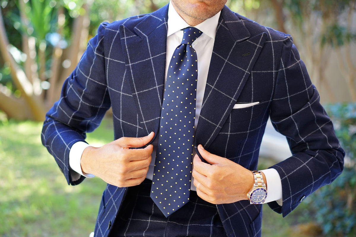 Navy Blue with Yellow Polka Dots Necktie
