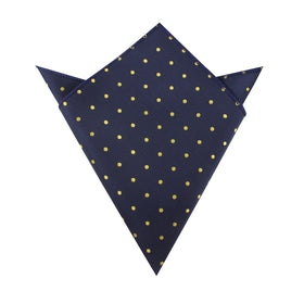 Navy Blue with Yellow Polka Dots Pocket Square