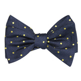Navy Blue with Yellow Polka Dots Self Tie Bow Tie 1