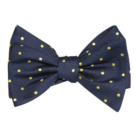 Navy Blue with Yellow Polka Dots Self Tie Bow Tie