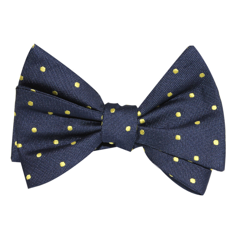 d84d60d75acf Navy Blue with Yellow Polka Dots Self Tie Bow Tie | Untied Ties ...