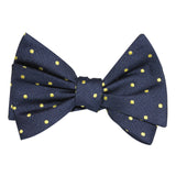 Navy Blue with Yellow Polka Dots Self Tie Bow Tie 2