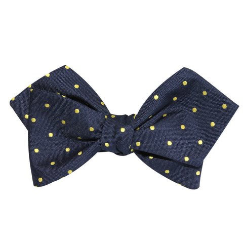 Navy Blue with Yellow Polka Dots Self Tie Diamond Tip Bow Tie