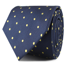 Navy Blue with Yellow Polka Dots Skinny Tie
