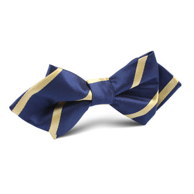 Navy Blue with Yellow Stripe Diamond Bow Tie