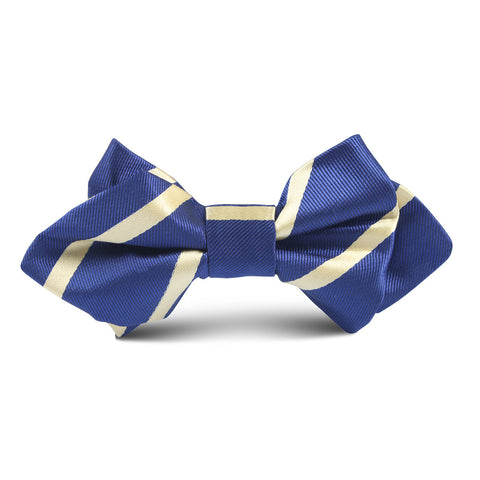Navy Blue with Yellow Stripe Kids Diamond Bow Tie