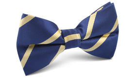 Navy Blue with Yellow Stripes Bow Tie