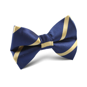 Navy Blue with Yellow Stripes Kids Bow Tie