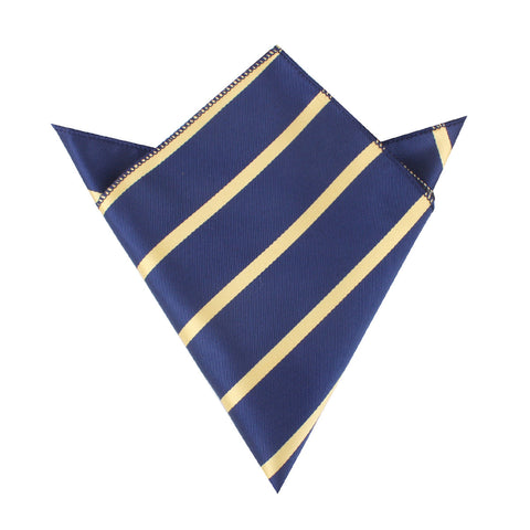 Navy Blue with Yellow Stripes Pocket Square