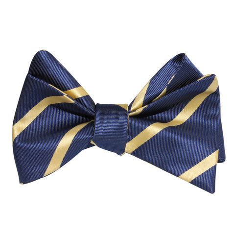 Navy Blue with Yellow Stripes Self Tie Bow Tie