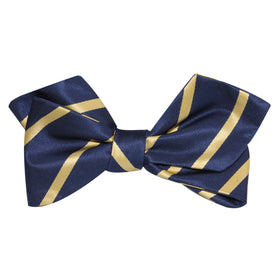 Navy Blue with Yellow Stripes Self Tie Diamond Tip Bow Tie