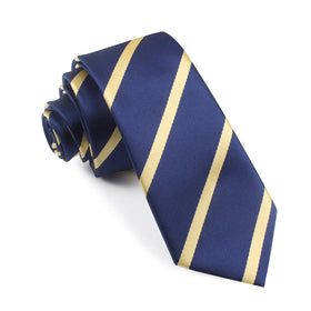 Navy Blue with Yellow Stripes Skinny Tie