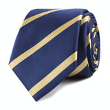 Navy Blue with Yellow Stripes Skinny Tie Front Roll