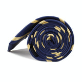 Navy Blue with Yellow Stripes Skinny Tie Side Roll