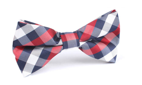 Navy Checkered Scotch Red Bow Tie