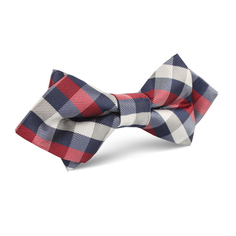 Navy Checkered Scotch Red Diamond Bow Tie