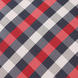 Navy Checkered Scotch Red Fabric Skinny Tie X123