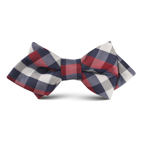 Navy Checkered Scotch Red Kids Diamond Bow Tie