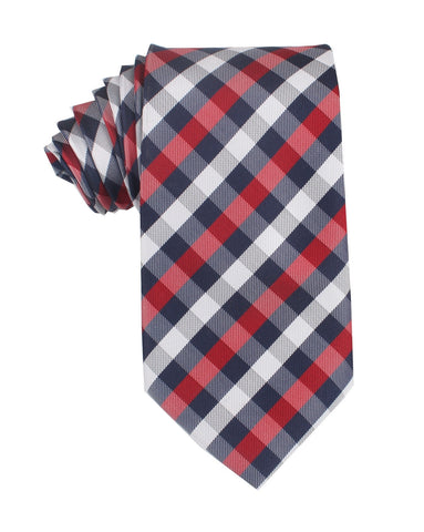 Navy Checkered Scotch Red Necktie