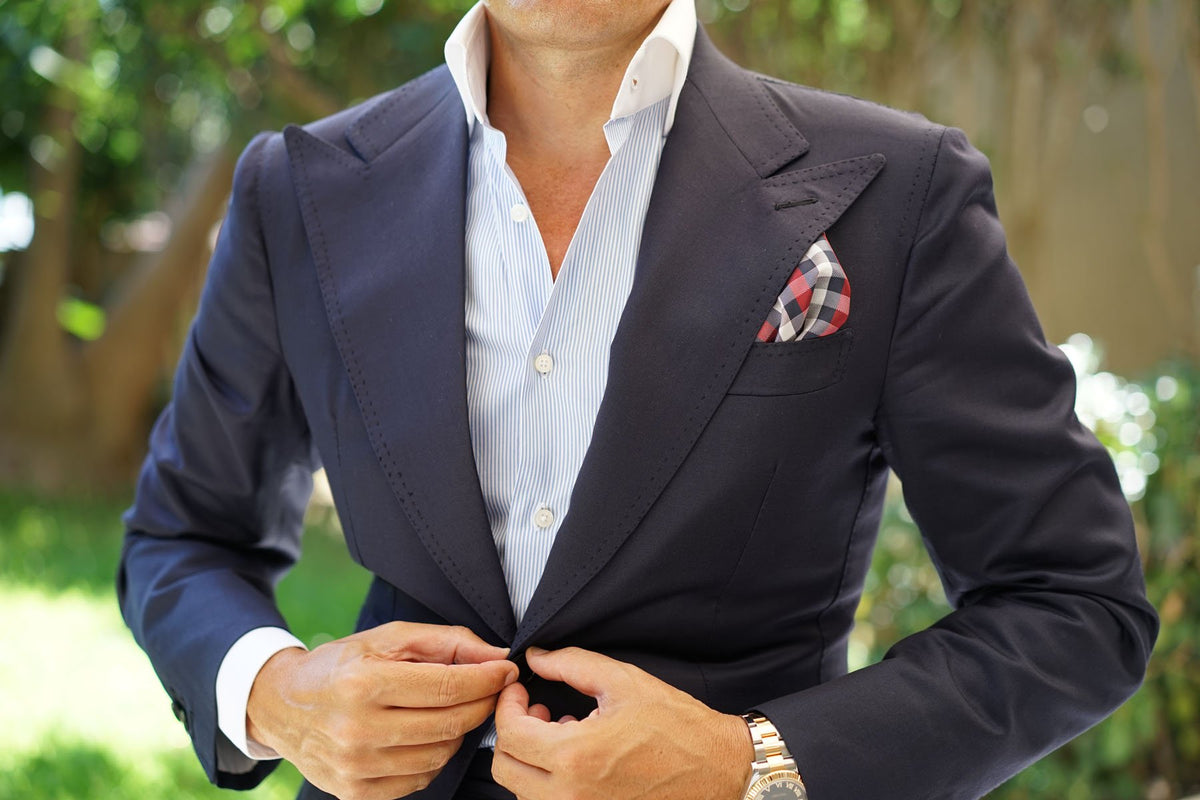 Navy Checkered Scotch Red Pocket Square