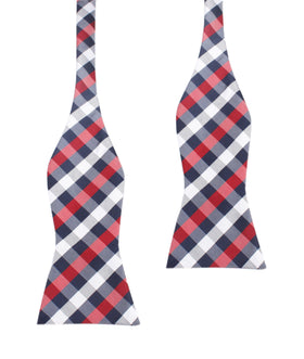 Navy Checkered Scotch Red Self Tie Bow Tie