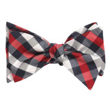 Navy Checkered Scotch Red Self Tie Bow Tie Self tied knot by OTAA