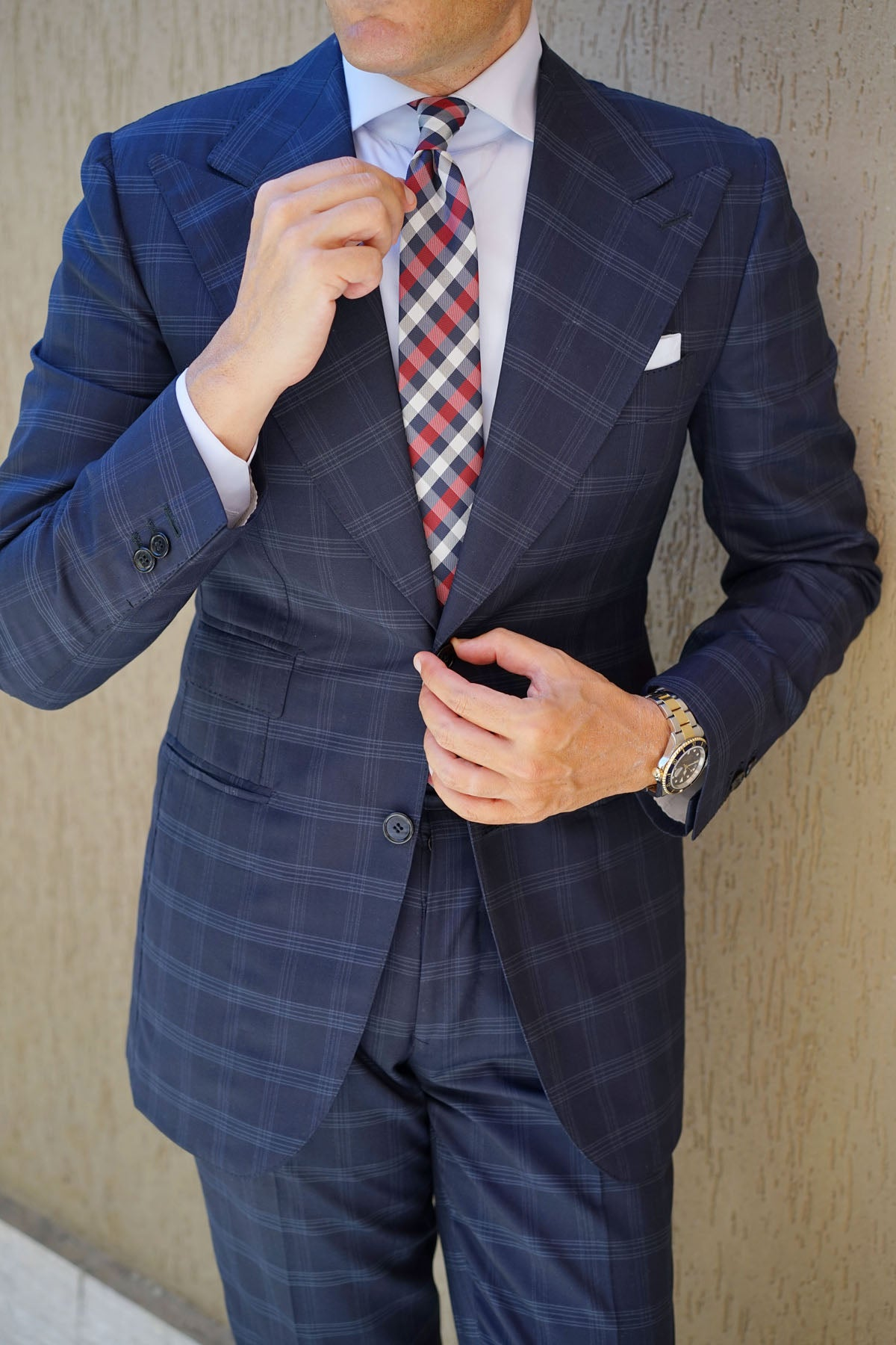 Navy Checkered Scotch Red Skinny Tie