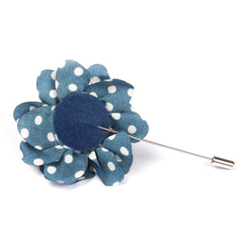 Havard Blue Lapel Flower with White Polkadots Pin Front Boutonniere