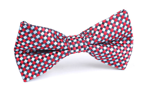 Navy & Light Blue Red Checkered Bow Tie OTAA
