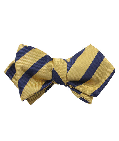 Navy Stripe Yellow Twill Diamond Self Bow Tie