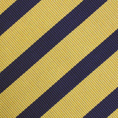 Navy Stripe Yellow Twill Pocket Square