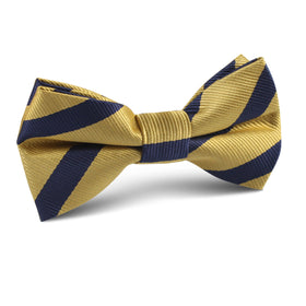 Navy Stripe Yellow Twill Kids Bow Tie