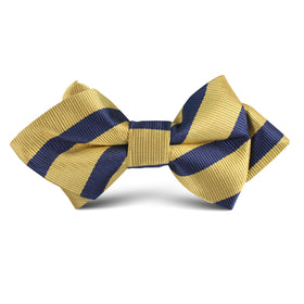 Navy Stripe Yellow Twill Kids Diamond Bow Tie