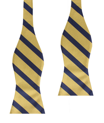 Navy Stripe Yellow Twill Self Bow Tie