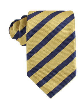 Navy Stripe Yellow Twill Tie