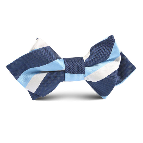 Navy Striped Blue Kids Diamond Bow Tie