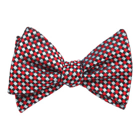 Navy and Light Blue Red Checkered Bow Tie Untied X283 OTAA