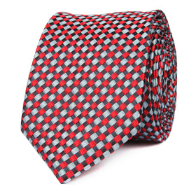 Navy and Light Blue Red Checkered Skinny Tie