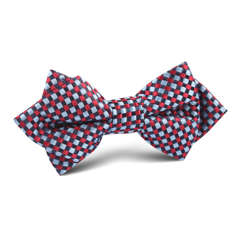 Navy and Light Blue Red Checkered Diamond Bow Tie