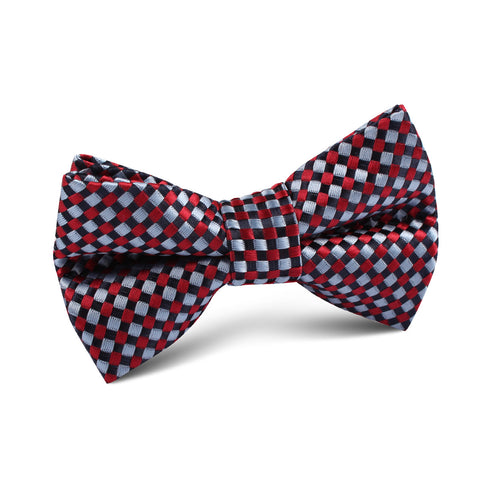 Navy and Light Blue Red Checkered Kids Bow Tie