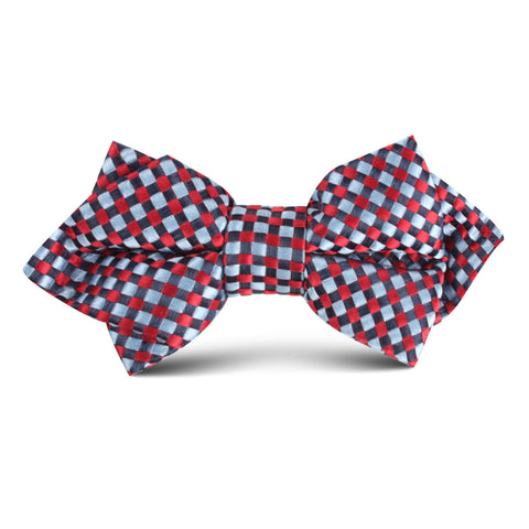Navy and Light Blue Red Checkered Kids Diamond Bow Tie