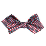 Navy and Light Blue Red Checkered Self Tie Diamond Tip Bow Tie 2
