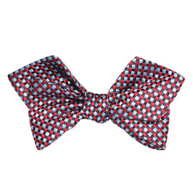 Navy and Light Blue Red Checkered Self Tie Diamond Tip Bow Tie