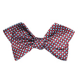 Navy and Light Blue Red Checkered Self Tie Diamond Tip Bow Tie 1